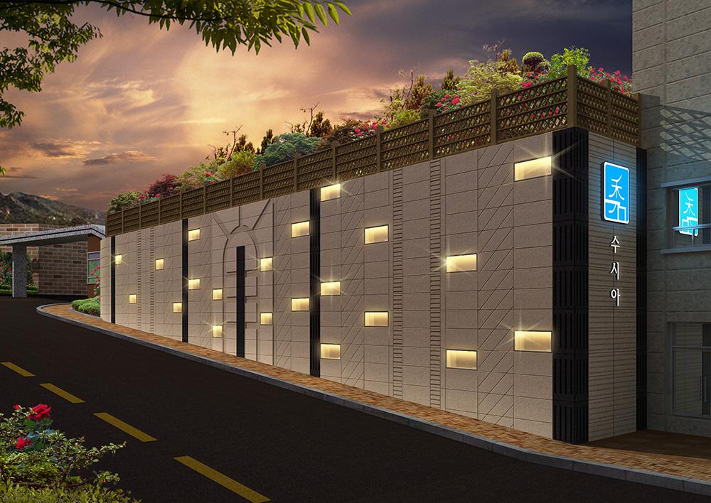Retaining wall lighting and retaining wall design & fitness design (3D)