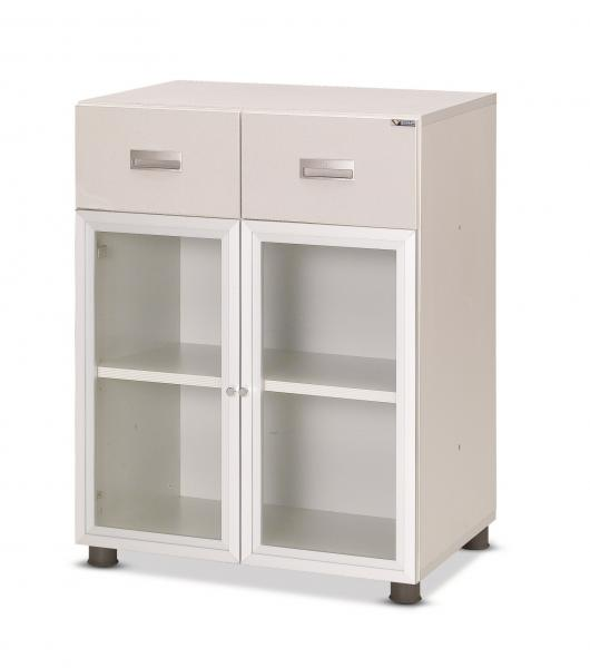 lab equipment showcase with 3-stage(drawer, glass type)